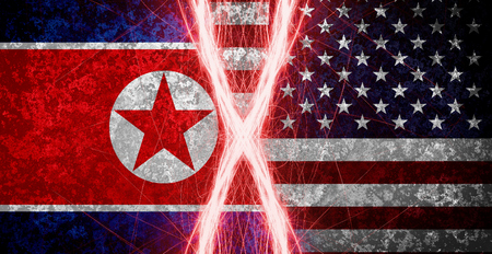 American and North Korean flag, conflict concept