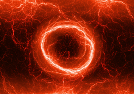 dazzle: Red electric lighting, abstract electrical storm Stock Photo