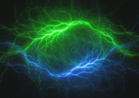 Blue and green lightning, abstract electrical background Imagens