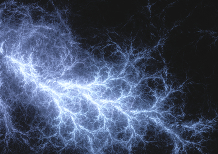 dangerous: Blue lightning, abstract electrical background Stock Photo