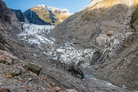 Melting Franz Joseph Glacier, New Zealand Stock Photo