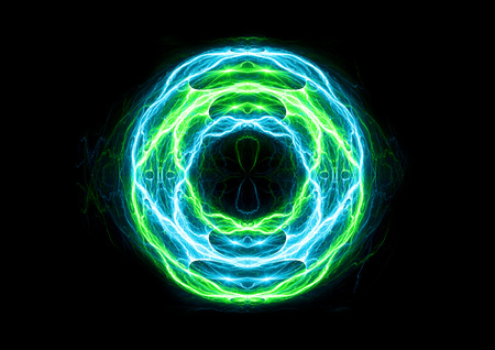 electric blue: Blue and green ball lightning, abstract electric background Stock Photo