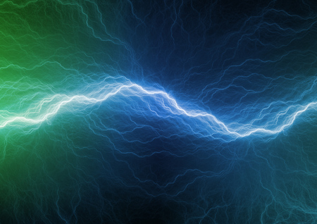 Blue and green plasma background, abstract lightning Stock Photo