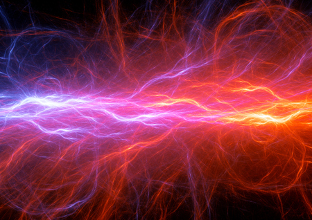 Fire and purple lightning, abstract electrical background