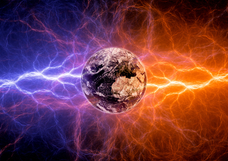 Earth apocalypse in the fire and ice lightnings. Elements of this image furnished by NASA Stock Photo