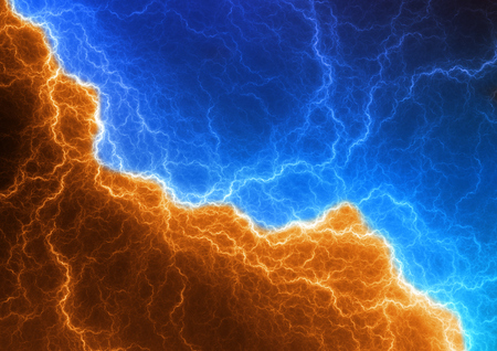 cold fusion: Blue and orange lightning, abstract plasma background