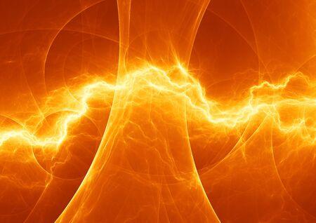 Hot orange lightning, abstrct plasma background Stock Photo