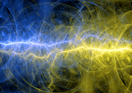 cold fusion: Yellow and blue lightning, abstract plasma background
