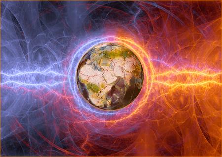 Earth apocalypse in fire and ice lightnings. Standard-Bild