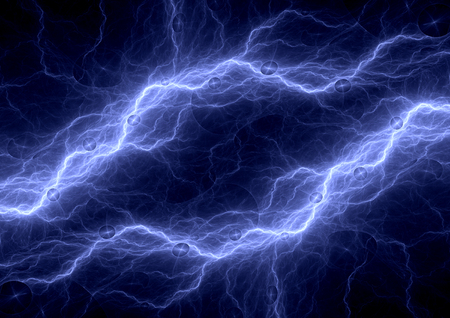 bolt: Blue electric background, lightning and plasma abstract Stock Photo