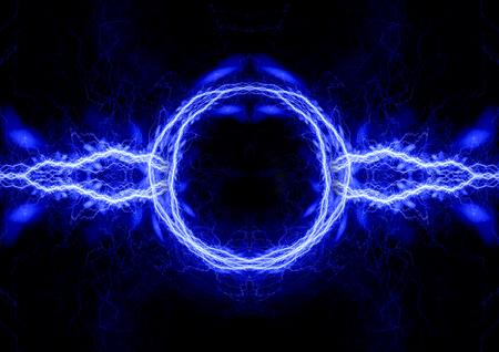 青い電気の背景, 雷とプラズマ抽象 写真素材