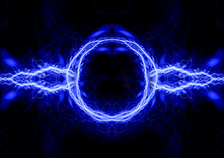 Blue electric background, lightning and plasma abstract Imagens
