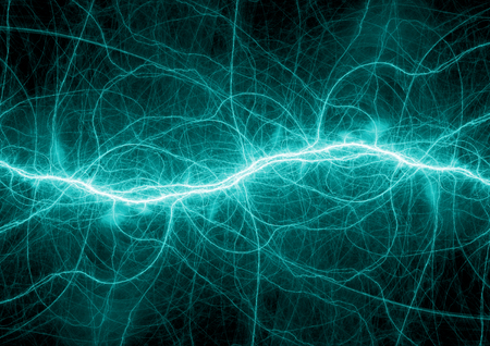 Abstract cyan lightning, electrical plasma background