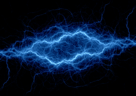 Blue lightning strike, electrical background Archivio Fotografico