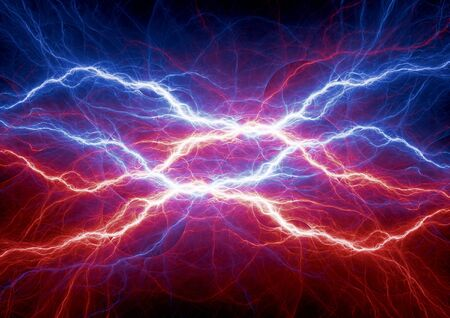 high voltage: Fire and ice lightning, clash of the elements Stock Photo