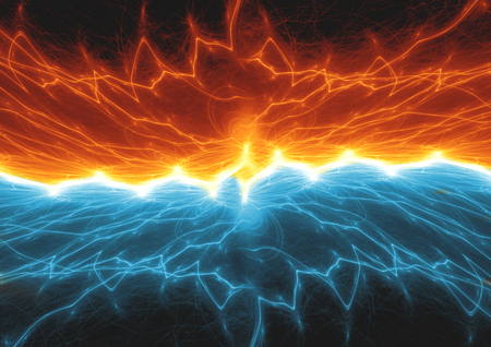 Fire and ice lightning, plasma background 写真素材