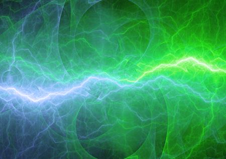 Blauwe en groene bliksem, abstracte energieachtergrond Stockfoto
