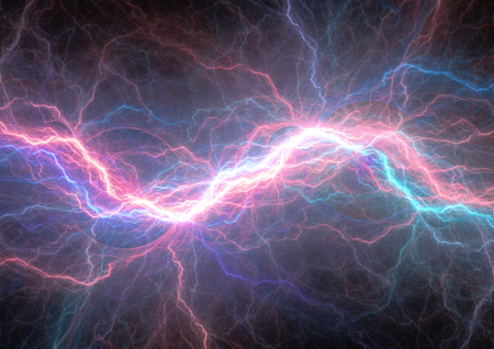 Red and blue lightning, electrical background
