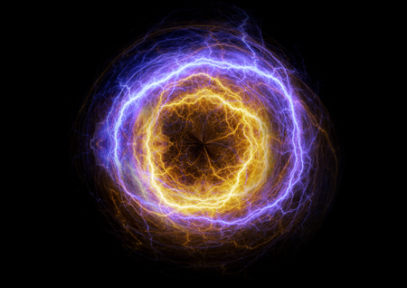 fire and ice: Hot yellow and cold blue plasma, electrical lightning background