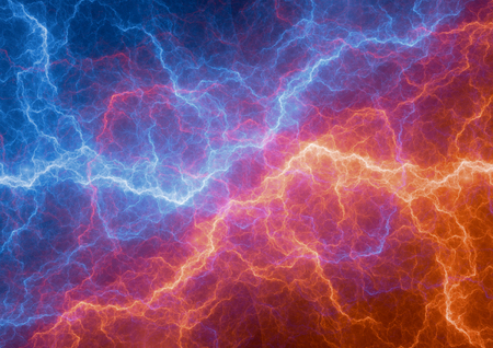 Hot red fire and cold ice lightning, abstract electrical background
