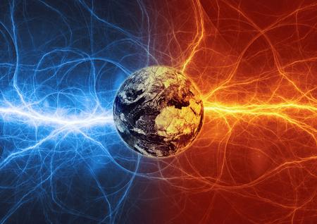Apocalipsis de la tierra en fuego y rayos de hielo. Foto de archivo