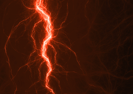 Red plasma lightning, abstract electrical background Archivio Fotografico