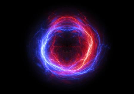 Fire and ice  electrical lightning, plasma energy background Stock Photo