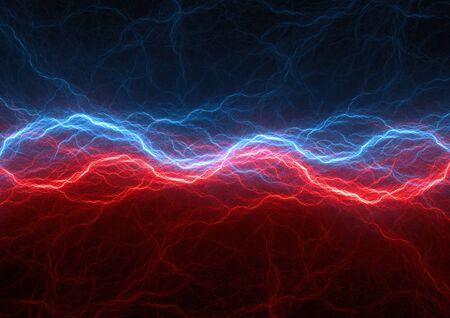 Rode en blauwe elektrische bliksemschichten, abstract plasma Stockfoto