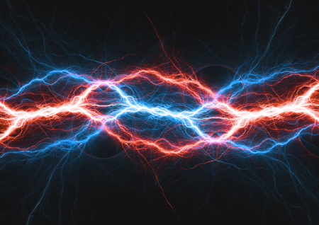 Fire and ice lightning bolt, hot and cold plasma electrical power Stock Photo