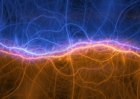 Fire and ice lightning or sound waves visualization, digital electrocal background