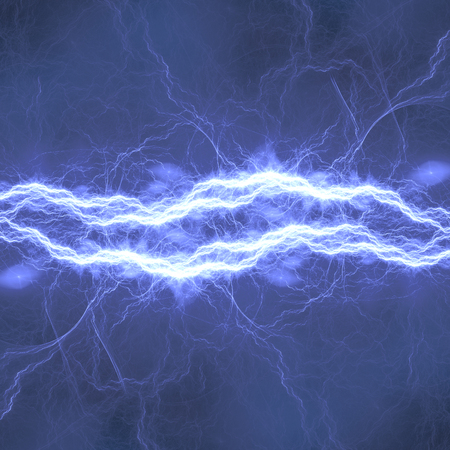 Blu lightning bolt. Abstract plasma and energy background.