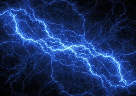 青い稲妻、プラズマおよび電力の背景 写真素材