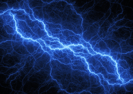 Blue lightning bolt, plasma and electrical power background