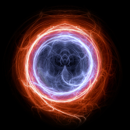 Fire and ice circle plasma and energy electrical lightning background