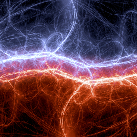 Fire and ice plasma and energy electrical lightning background