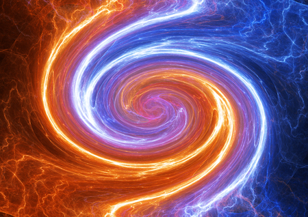 Swirling fire and ice plasma lightning, abstract electrical background