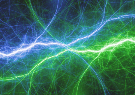 Blue and green lightning abstract, plasma fractal background