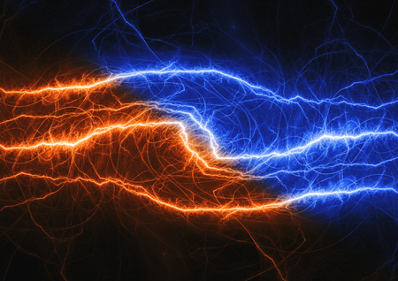 Fire and ice lightning plasma background, electrical abstract