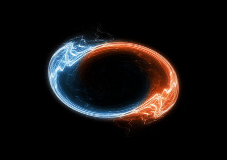Fire and ice circle electrical lightning, swirling plasma