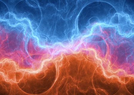 Fire and ice plasma electrical lightning, abstract power background Stock Photo