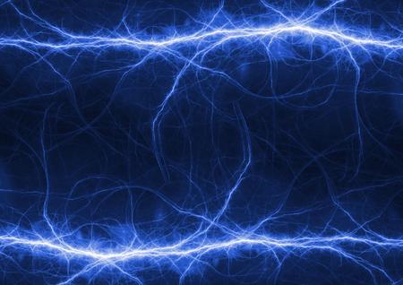 Blue electrical lightning bolt, plasma power background