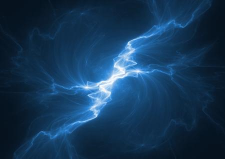 Blue electrical lightning, abstract plasma background Standard-Bild