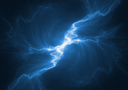 Blue electrical lightning, abstract plasma background 版權商用圖片