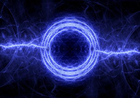 Blue electrical lightning, abstract plasma background Foto de archivo