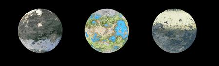 Three alien planets isolated on black, 3d illustration