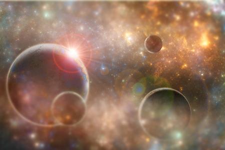 Fantasy alien planet, scifi 3D illustration