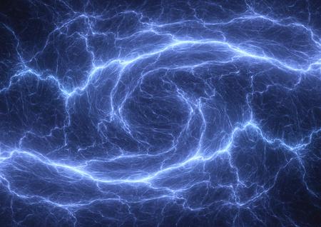 Blue plasma lightning, power and electrical background