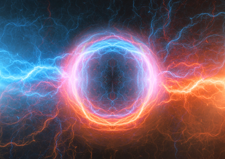 Fire and ice lightning bolt, power plasma background