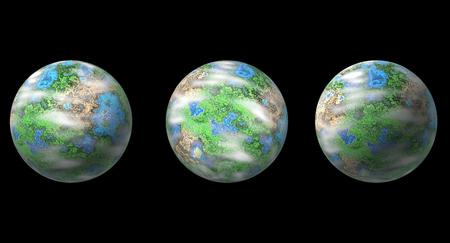Three planets isolated on black, 3D fantasy illustration