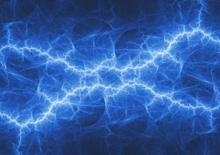青いプラズマ稲妻、抽象的な電気的背景